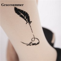 Gracesummer Women Lady Flesh Sexy Pantyhose Tattoo Stockings Tights Tattooed Stockings Trendy Thin Embroidery Crotch Pantyhose